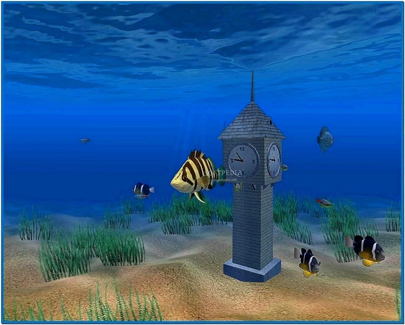 3D Aquarium Screensaver With Clock