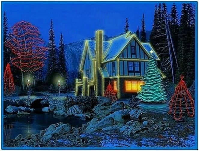 3d christmas cottage full screensaver - Download free