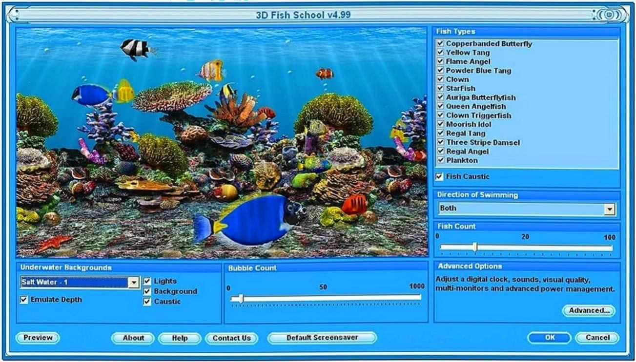 3D Fish School Screensaver Windows 7