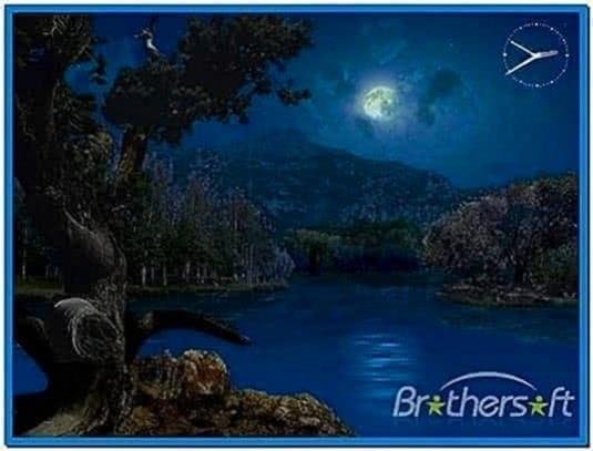3d mountain lakes at night screensaver