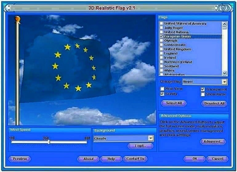 3D Realistic Flag Screensaver 2.03