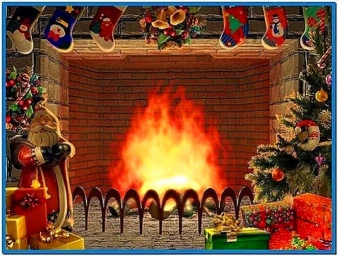 3D Screensavers Christmas Fireplace