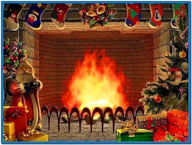 3d screensavers christmas fireplace