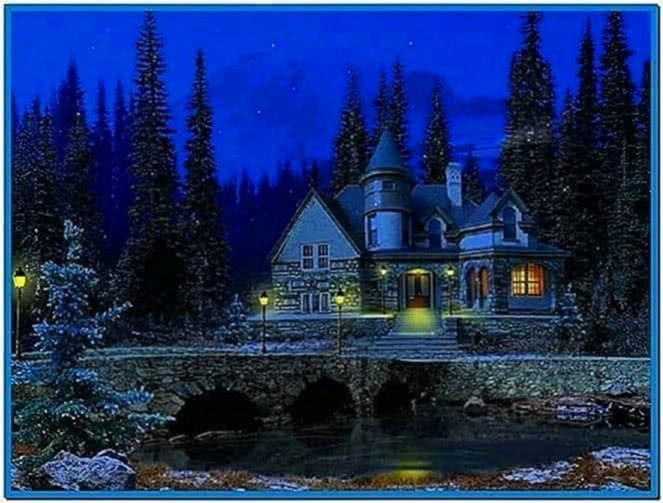 3D Snowy Cottage Screensaver Full