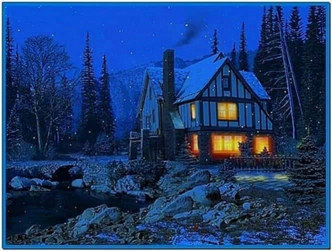 3d winter cottage screensaver - Download free