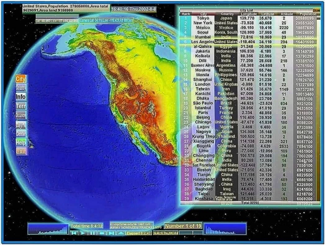3d world map screensaver software - Download for free