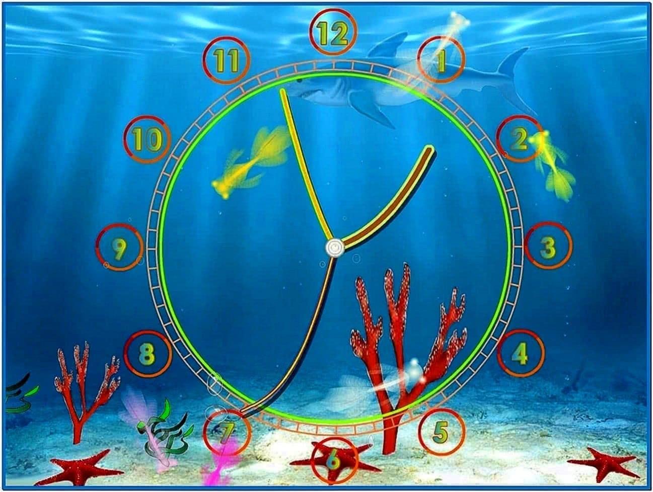 Aquarium Screensaver With Clock