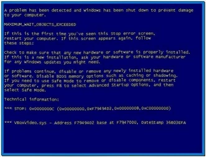 Blue screen of death screensaver Windows xp