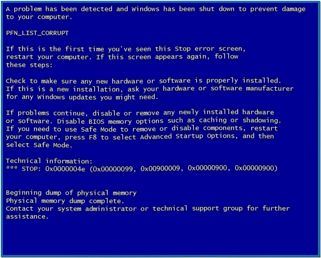 Blue Screen of Death Screensaver Windows XP