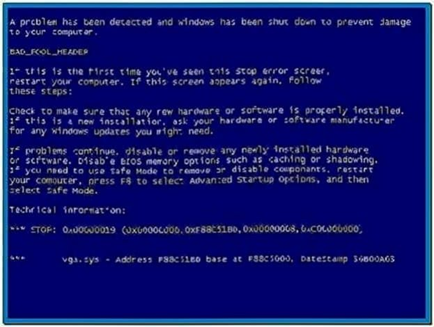 Blue Screen Screensaver