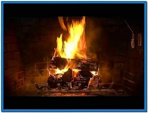 Burning log fire screensaver