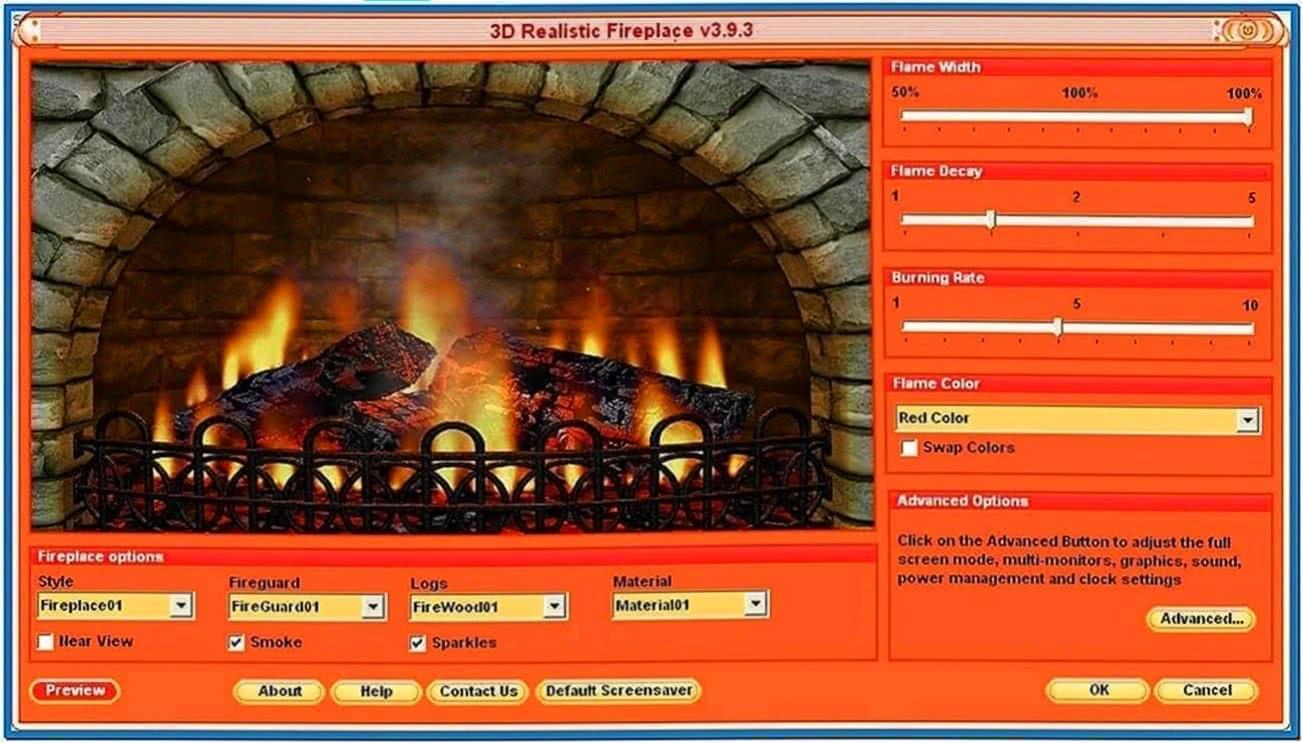 Burning Log Fireplace Screensaver