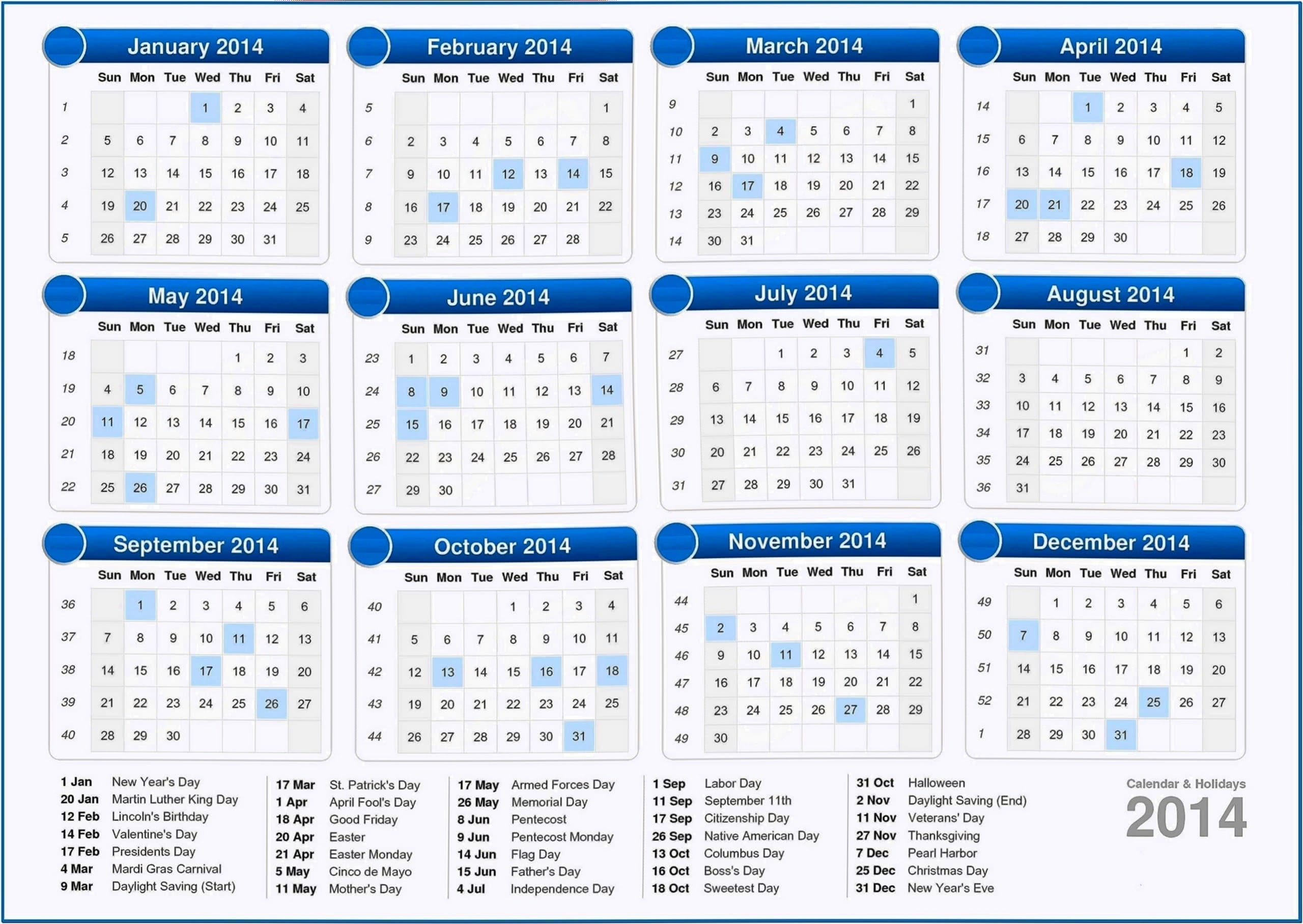 Calendar Screensavers 2020