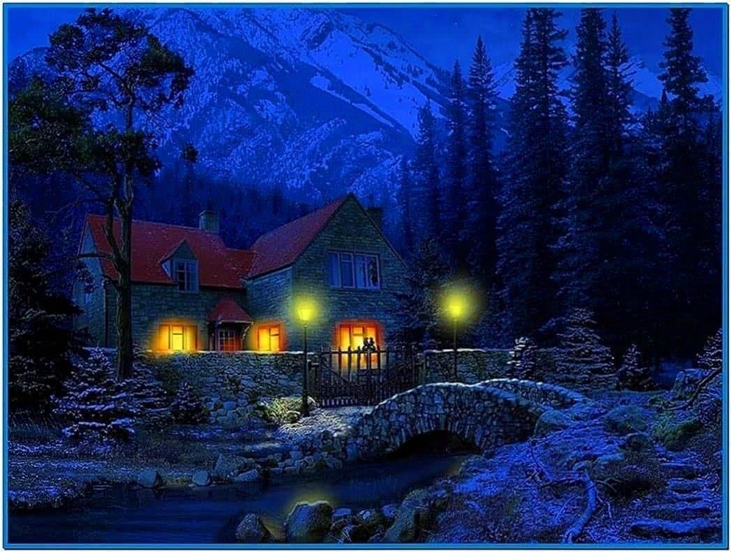 Christmas cottage animated screensaver