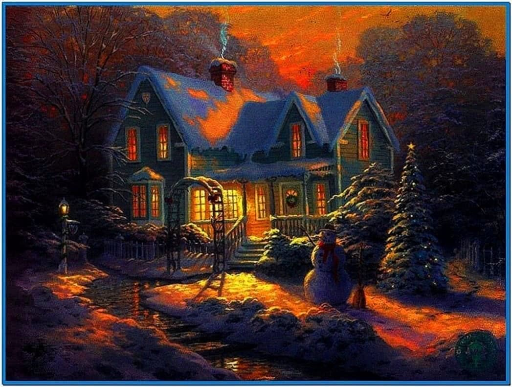 Christmas cottage animated screensaver - Download free