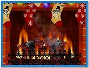 Christmas fireplace screensaver with sound