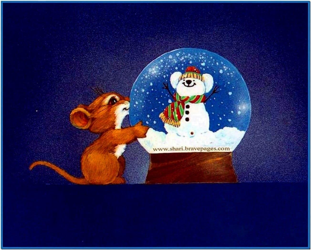 Christmas snow globe screensavers