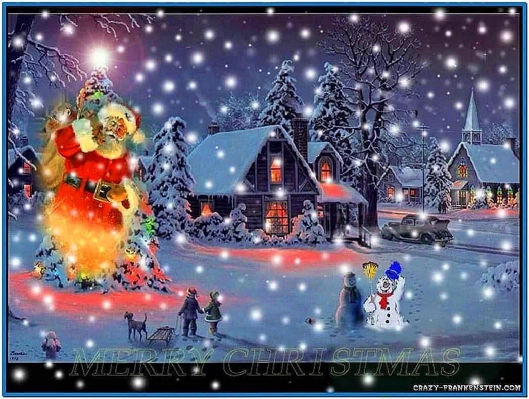 Christmas snow scenes screensaver