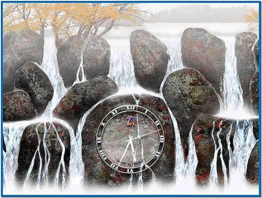 Clock in Water Screensaver