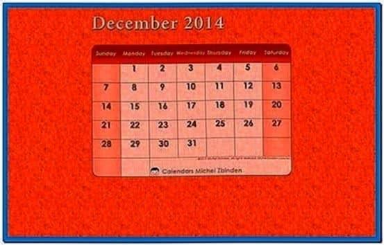 December 2020 Calendar Screensaver