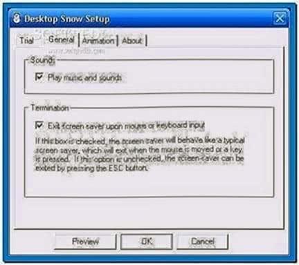 Desktop snow screensaver