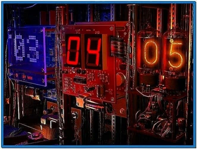 Digital clock 3D screensaver Mac