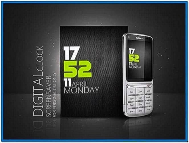 Digital Clock Screensaver for Mobile Nokia