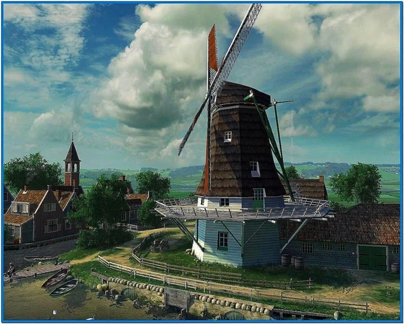 Dutch windmills 3D screensaver