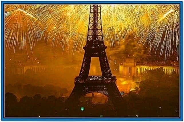 Fireworks From Eiffel Tower Screensaver