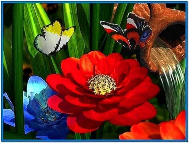 Garden flowers 3D screensaver