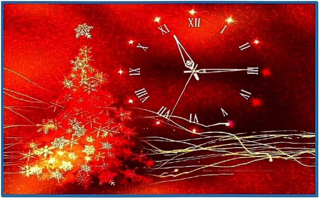 Gold glow christmas clock screensaver - Download free