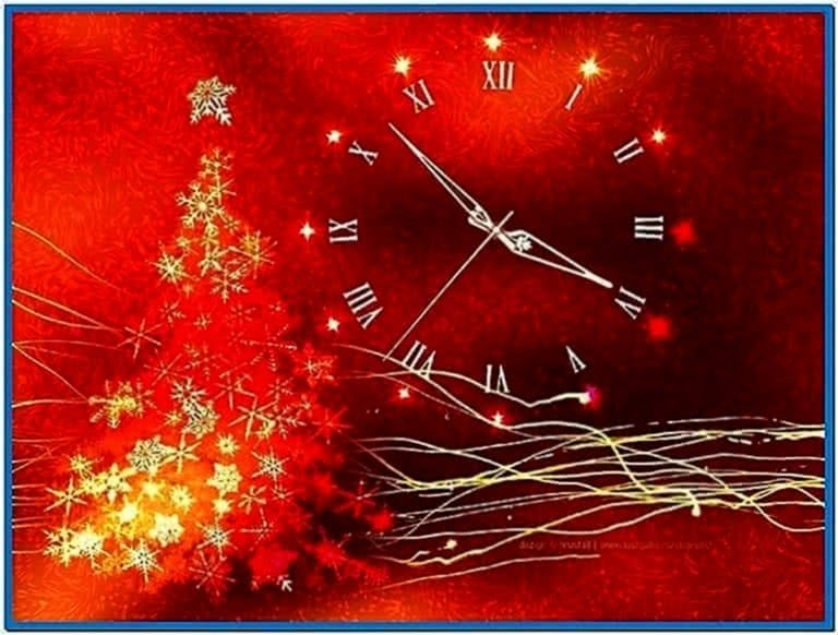 Gold Glow Christmas Clock Screensaver 3.1