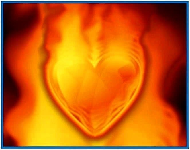 Heart on Fire Screensaver