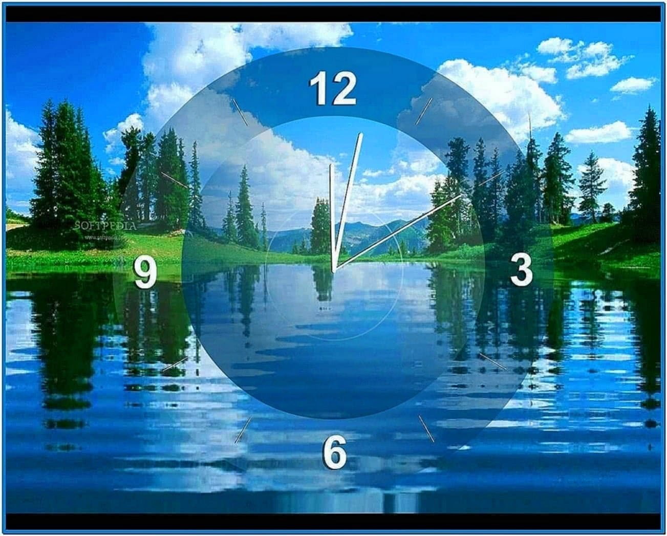 Lake Clock Screensaver Desktop