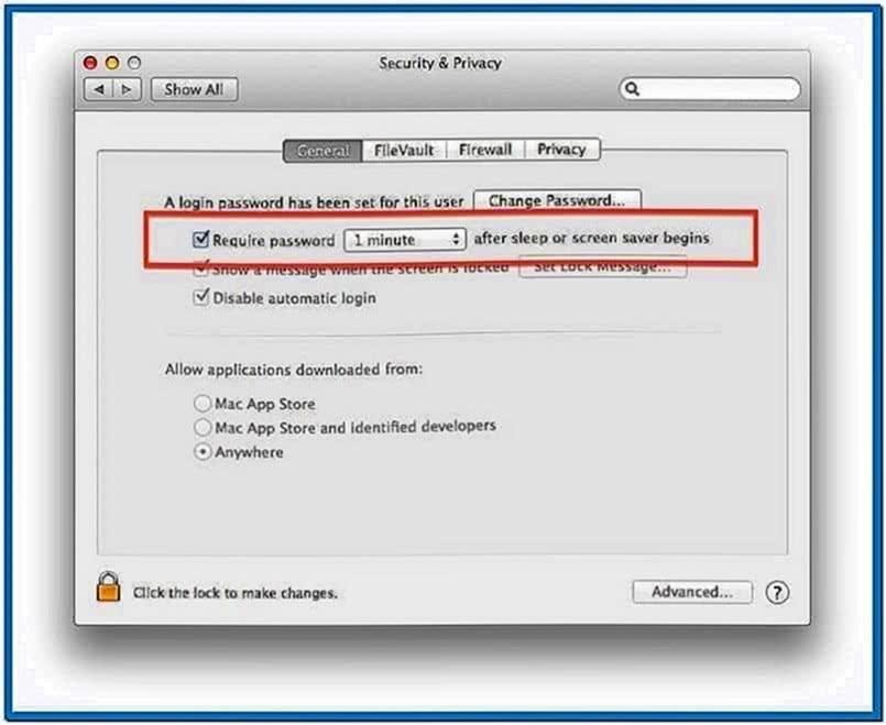Mac OS Screensaver Lock