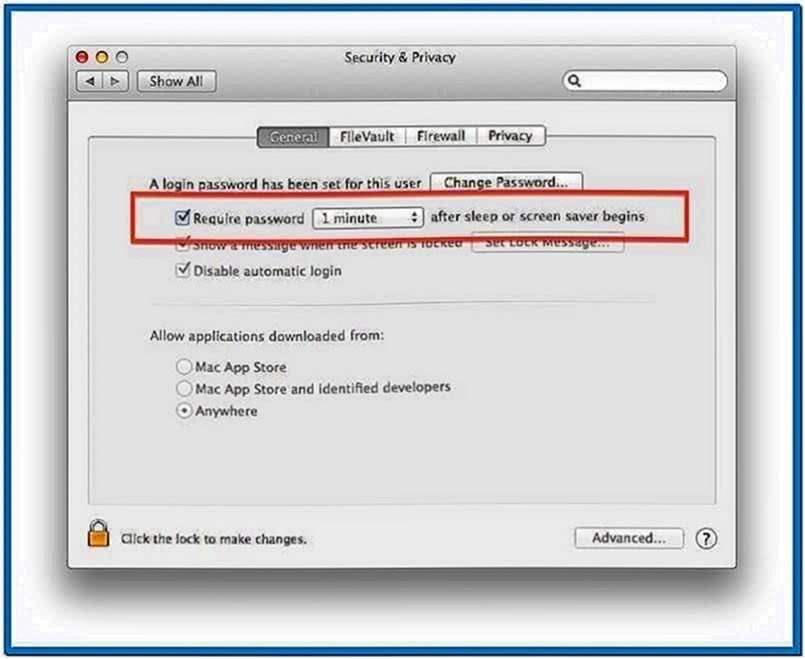 Mac OS Screensaver Lock Screen