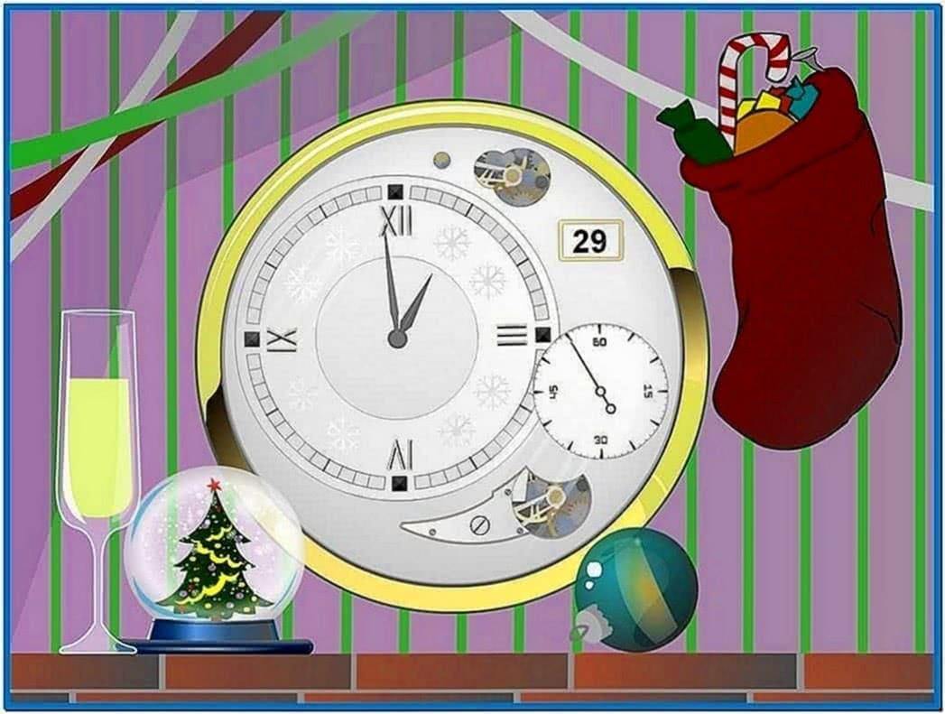Merry christmas clock screensaver