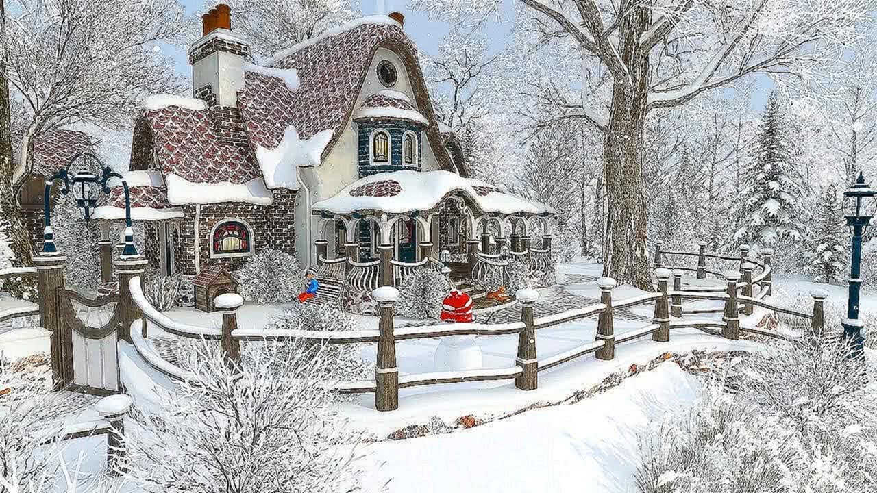 Winter Cottage Christmas Snowfall Screensaver 4K