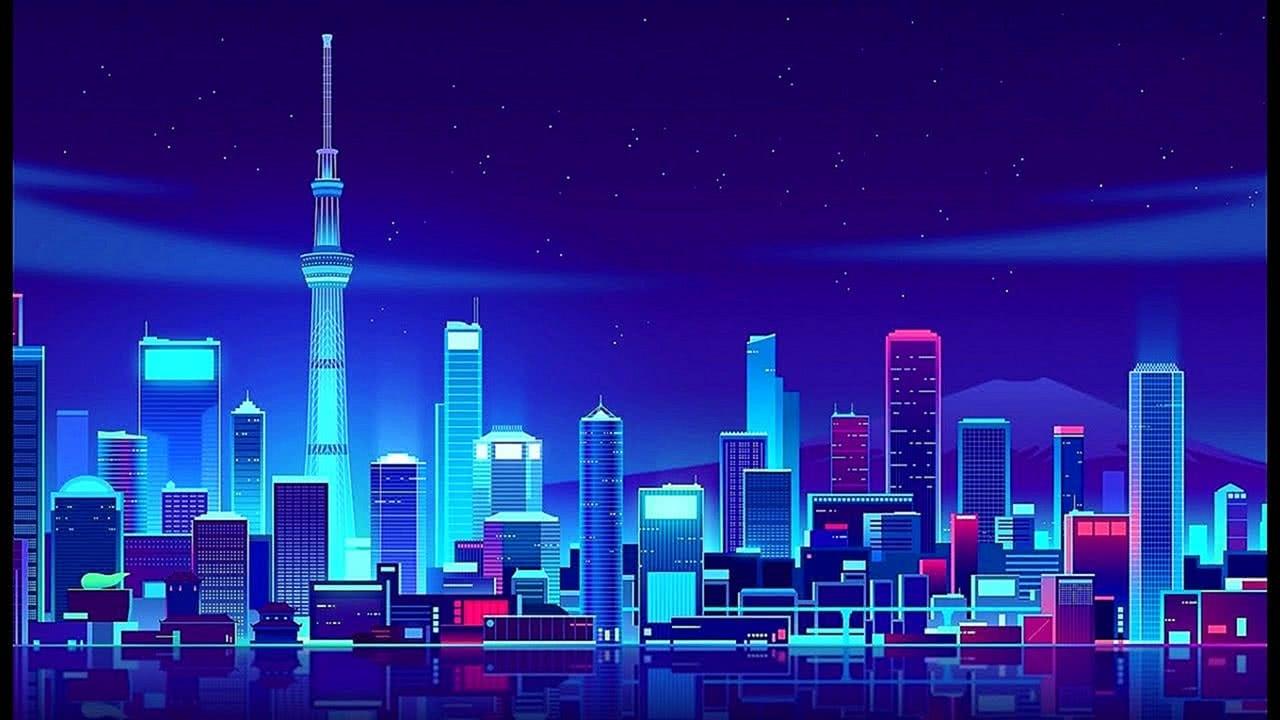 NEW Synth City Neon cyber Screensaver 4K Retrowave 2021