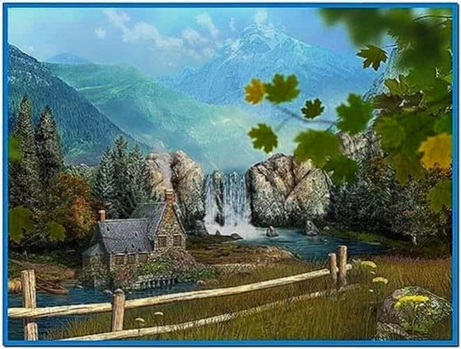 Mountain waterfall 3d screensaver and animated wallpaper download free - Mountain screensavers free ...