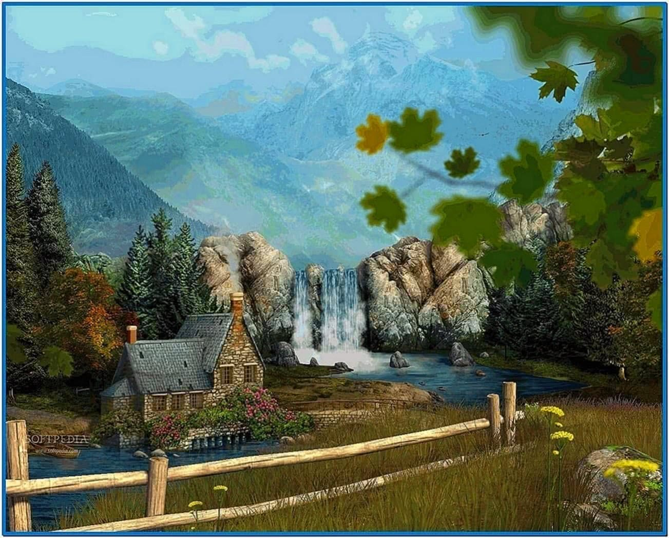 Mountain Waterfall 3D Screensaver Full