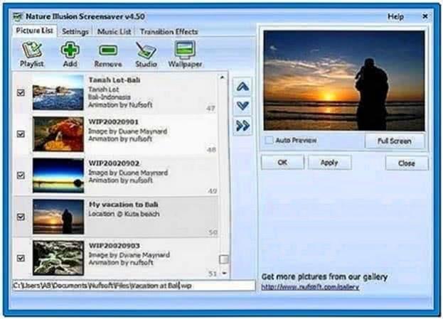 Nufsoft Nature Illusion Screensaver 4.51