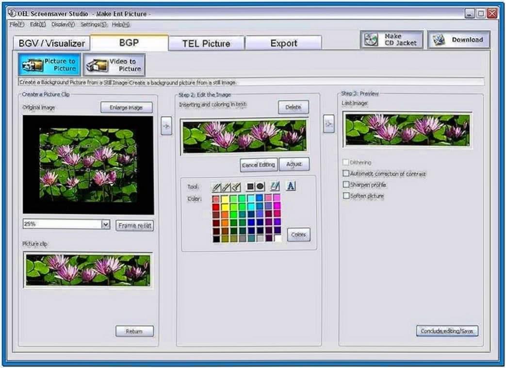 Oel screensaver studio software
