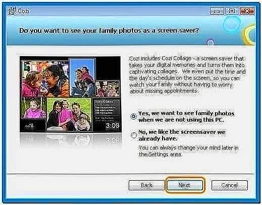 Photo collage screensaver Windows 7
