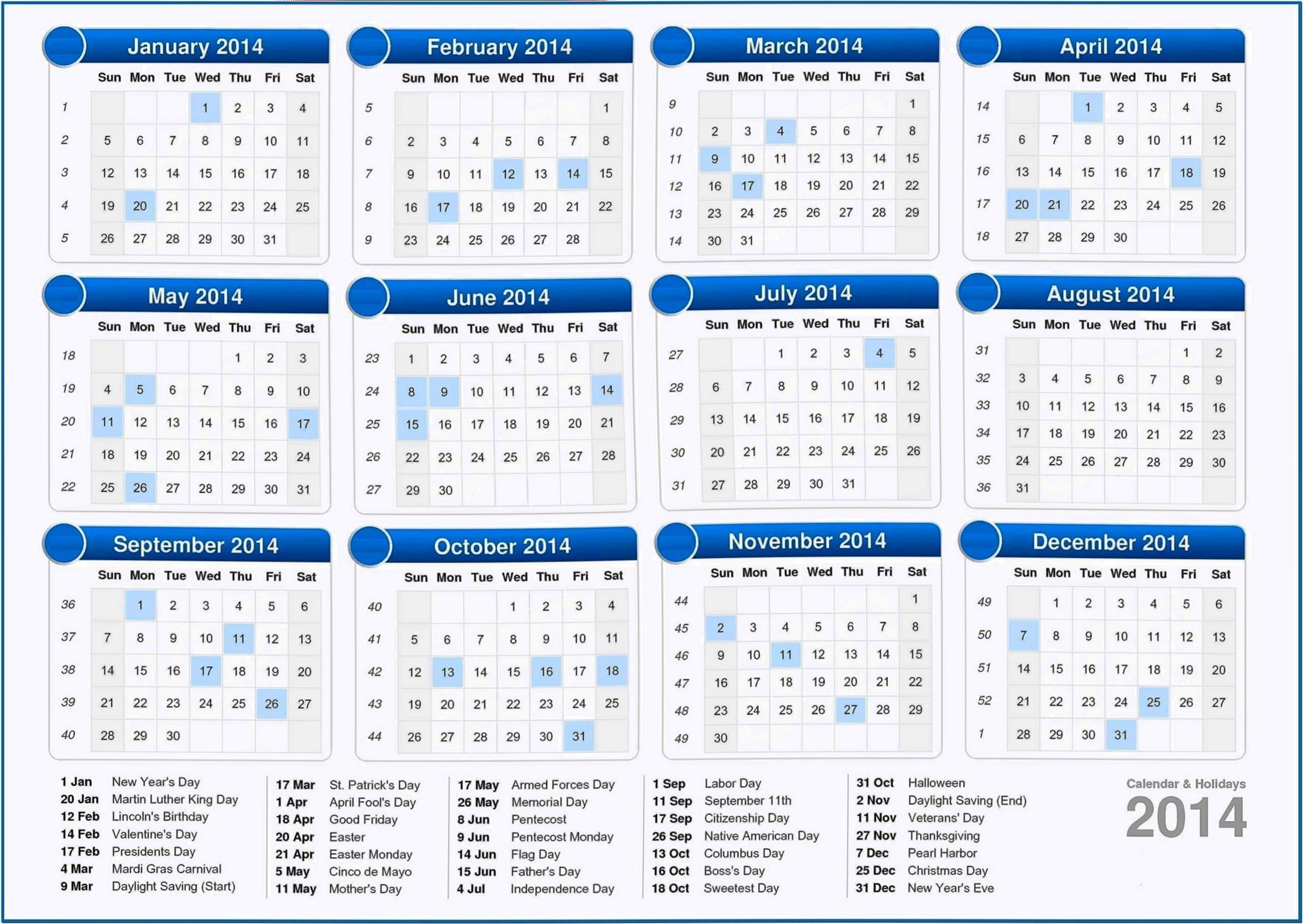 Screensaver Desktop Calendar 2020
