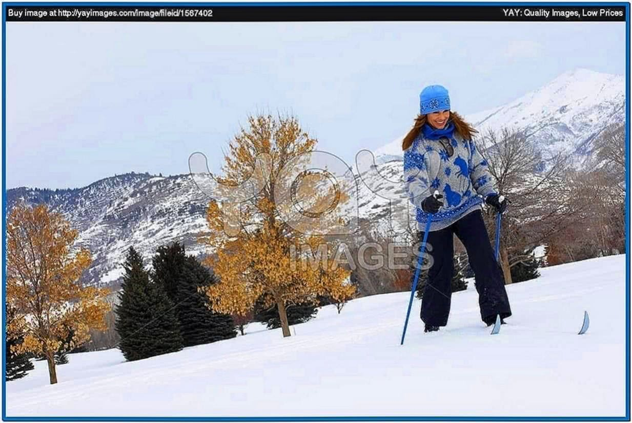 Screensaver Woman Cross Country Skiing