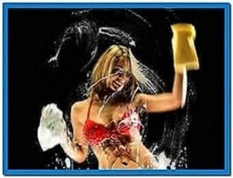 Screensavers Girl Washing Screen