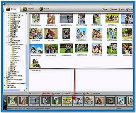 Slideshow screensaver with music