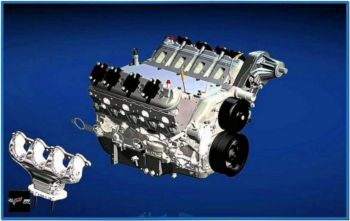 Small block car engine assembly screensaver