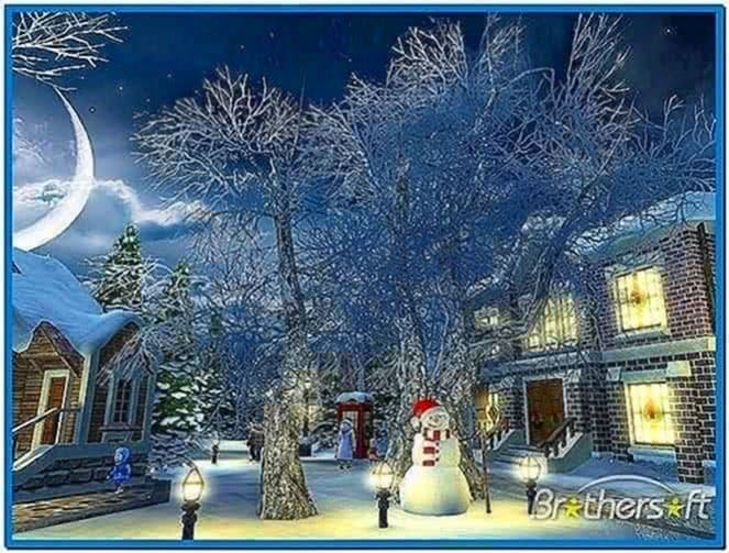 Snow village 3D screensaver